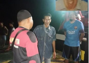 Warga bersama aparat kepolisian melakukan pencarian. Inzet gambar korban Alan Nadie(45) yanjg tewas tenggelam.